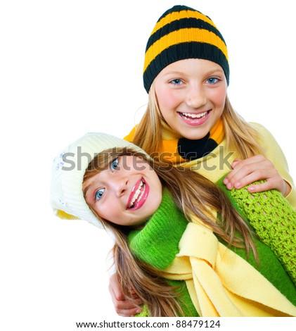 Beautiful Teen Girls over white - stock photo