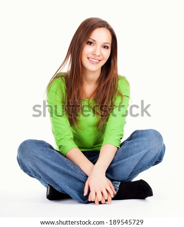 beautiful teen woman smiling, full lenght, white background - stock photo
