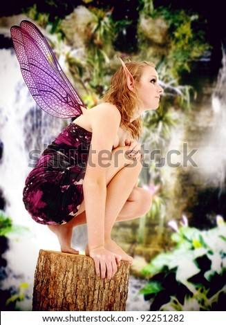 Beautiful teenage girl in fairy costume during LARP event, Live Action Role Play. - stock photo