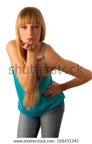 Beautiful teenage girl sending a kiss isolated over white background - stock photo