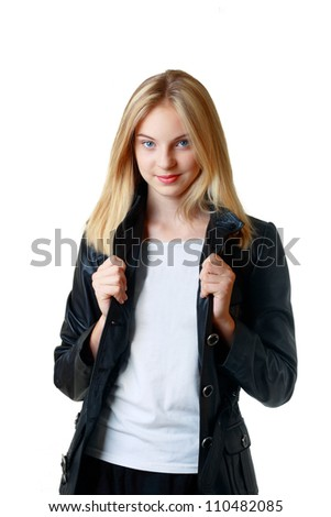 beautiful teenage girl smiling and looking into the camera. Isolated on white background - stock photo