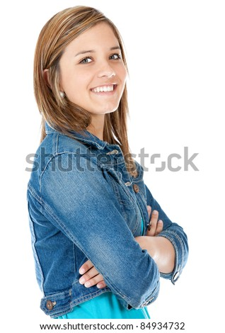 Beautiful teenage girl smiling ? isolated over white - stock photo