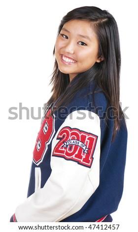 Beautiful teenage girl wearing school jacket - stock photo