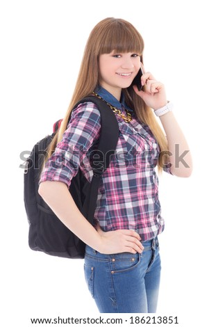 beautiful teenage girl with mobile phone isolated on white background - stock photo