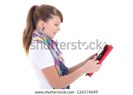 beautiful teenage girl with tablet pc over white - stock photo