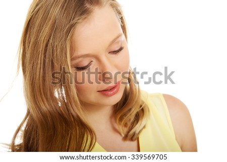 Beautiful teenage woman with bright make up