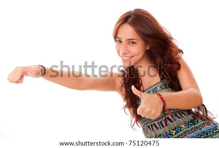 Beautiful teenager smiling with a positive attitude over white background - stock photo
