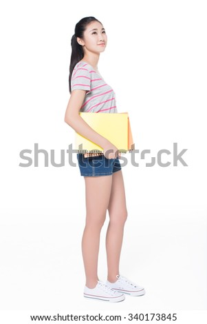 beautiful teenager student girl smiling holding books, education and learning concept