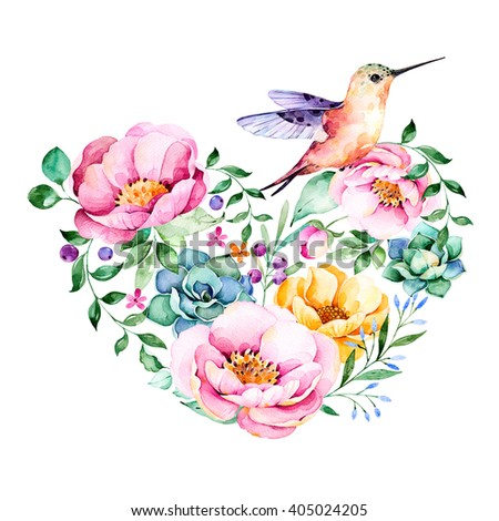 Beautiful template card.Perfect for Happy Valentines Day.Handpainted illustration.Watercolor heart with roses,flower,foliage,succulent plant,branches,hummingbird.Hand drawn illustration.Lovely Bouquet - stock photo