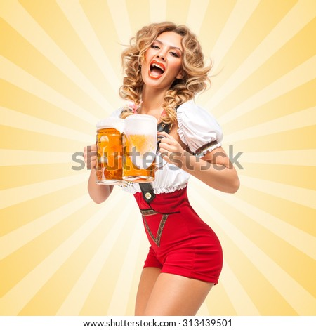 Beautiful tempting sexy woman wearing red jumper shorts with suspenders in a form of a traditional dirndl, serving two beer mugs on colorful abstract cartoon style background.