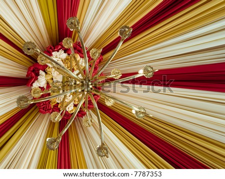 beautiful tent with antique lamp hanging - stock photo