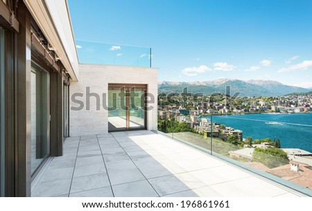 beautiful terrace of a modern building, outdoor - stock photo
