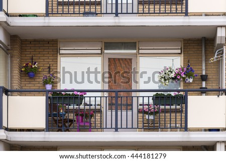 beautiful terrace or balcony with small table, chair and flower.  (terrace) - stock photo