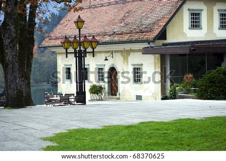 Beautiful terrace with a little house - stock photo