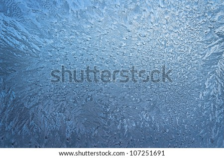 beautiful texture of frozen glass, blue color - stock photo