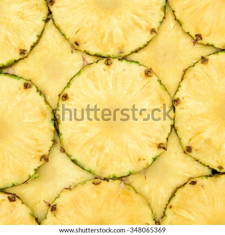 Beautiful texture slices of pineapple