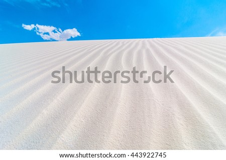 Beautiful textures in the white gypsum sands of White Sands New Mexico  - stock photo