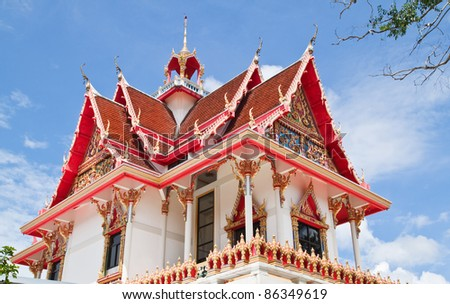 Beautiful Thai Church and blue sky - stock photo