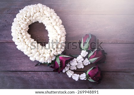 beautiful Thai garland flowers (jasmine and roses), use for Songkran festival in Thailand in soft color - stock photo