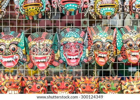 Beautiful Thai masks background at Wat Pho in Bangkok, Thailand. - stock photo