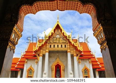 Beautiful Thai Temple Wat Benjamaborphit, temple in Bangkok, Thailand - stock photo