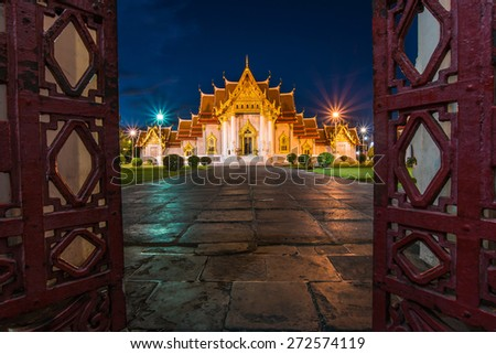 Beautiful Thai Temple Wat Benjamaborphit, temple in Bangkok, Thailand.Generality in Thailand, any kind of art decorated in Buddhist church, temple pavilion, temple hall, monk's house etc. - stock photo