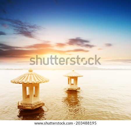 beautiful the west lake scenery, landscape with sunset in hangzhou,China - stock photo