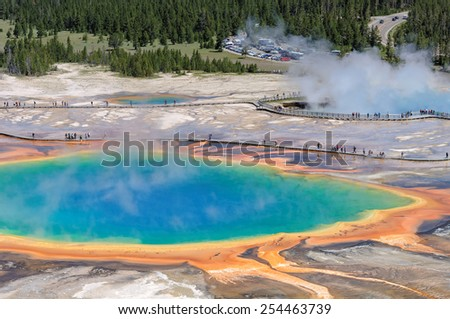 Beautiful thermal pool Grand Prismatic Spring in Yellowstone National Park - stock photo