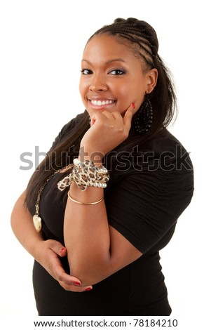 Beautiful thoughtful african american woman  - isolated over white - stock photo