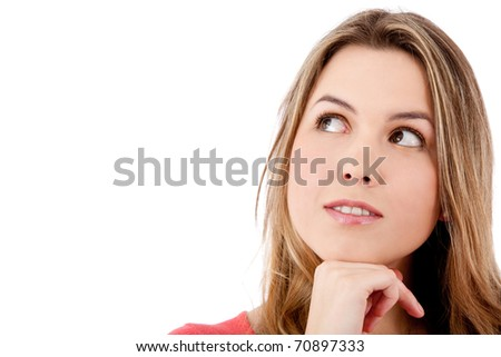 Beautiful thoughtful girl looking up - isolated over white - stock photo