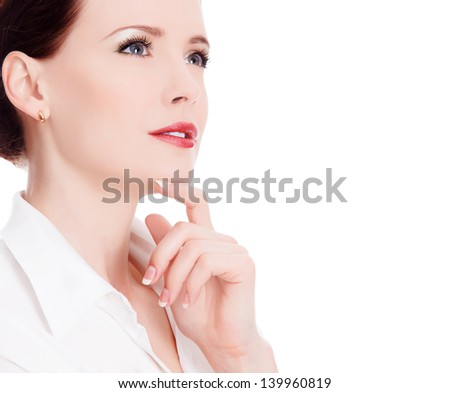 beautiful thoughtful woman, white background, copyspace - stock photo
