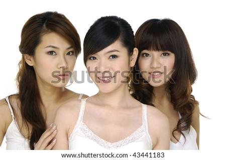 Beautiful three girl - stock photo