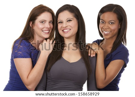 beautiful three women having fun on white isolated background - stock photo