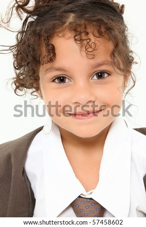 Beautiful three year old mixed race girl in baggy men's suit close up over white. - stock photo