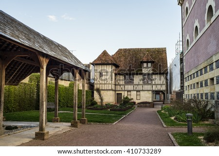 Beautiful timber framed building in Pont-l'Eveque (Calvados, Normandy, France). - stock photo