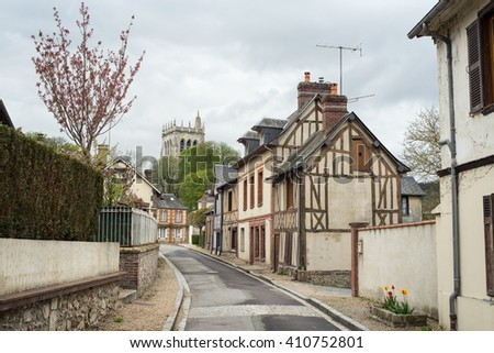Beautiful timber framed houses in Le Bec-Hellouin, Normandy, France - stock photo