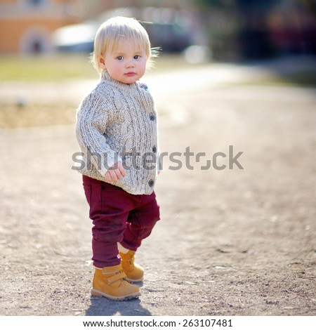 Beautiful toddler boy walking outdoors at the warm spring day  - stock photo