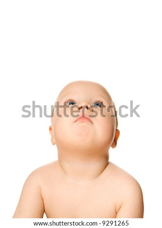 Beautiful toddler looking up isolated on white background