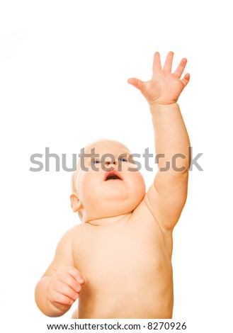 Beautiful toddler with outstretched hand isolated on white background - stock photo