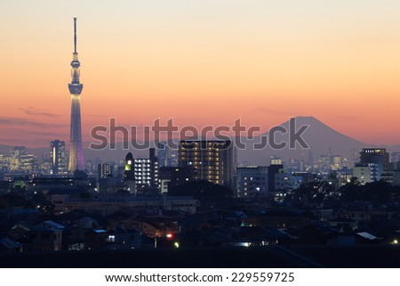 Beautiful Tokyo sunset with two Japan landmark , Tokyo sky tree and Mountain Fuji - stock photo