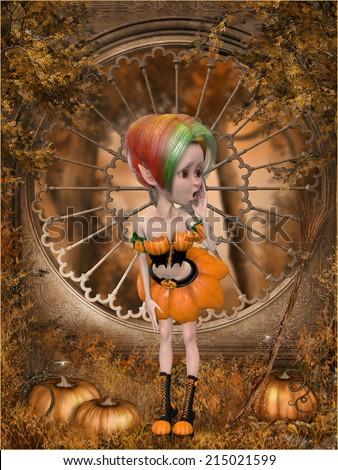 Beautiful toon pumpkin girl - stock photo