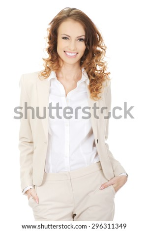 Beautiful toothy smiling confident businesswoman. - stock photo