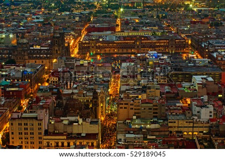 Beautiful top view of Zocalo at night, Mexico-city, Mexico