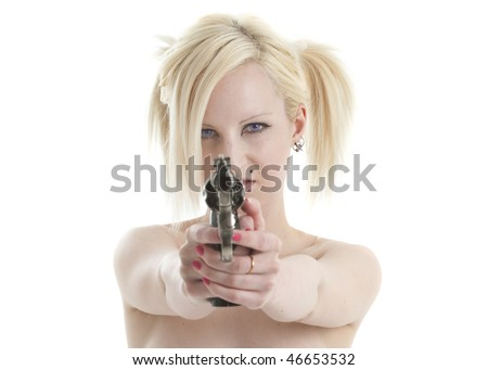 Beautiful topless blonde woman aiming large pistol and looking mean - stock photo