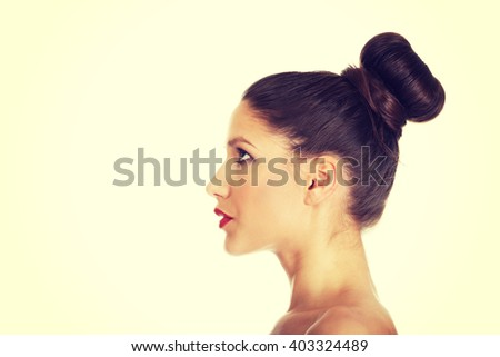 Beautiful topless woman with make up. - stock photo