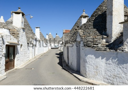 Beautiful town of Alberobello with trulli houses, Unesco world heritage on Puglia, southern Italy
