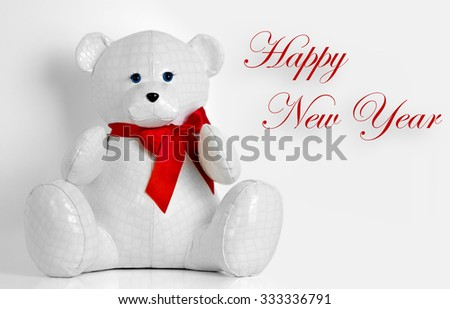 beautiful toy bear wishes Merry Christmas - stock photo