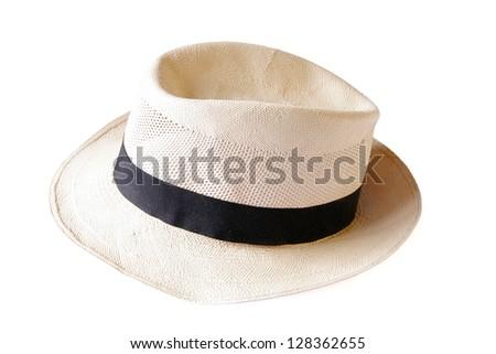 Beautiful traditional Panama hat isolated on white - stock photo