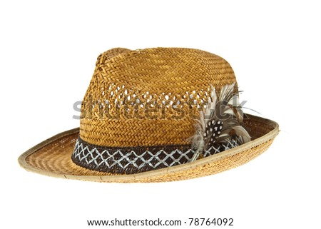 Beautiful traditional Panama hat with feather decorated isolated on white background