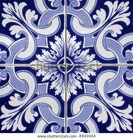 Beautiful traditional tiles with nice blue painting from Portugal